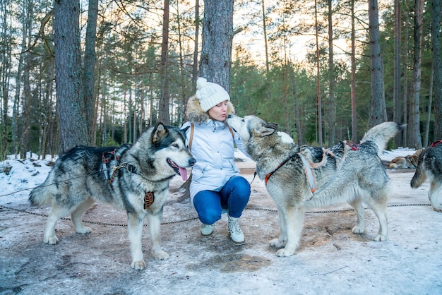 Primo piano di una ragazza con cani da slitta husky in una neve