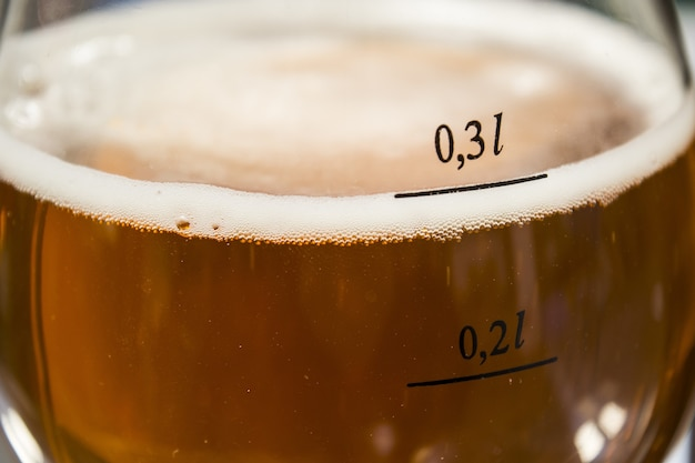 Closeup of a glass of cold beer under the sunlight