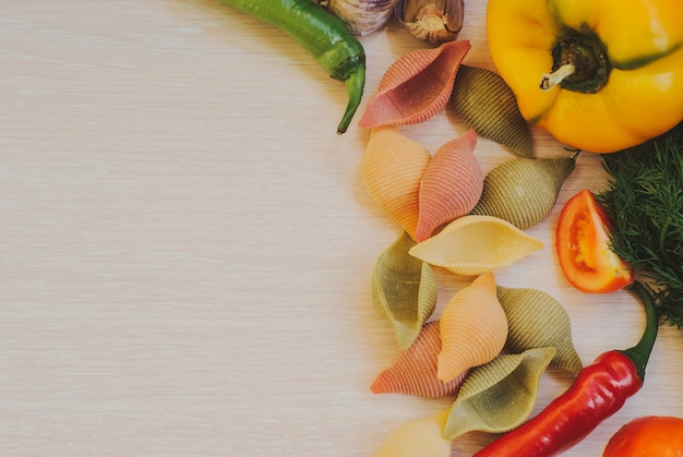 Closeup of gluten free vegetable pasta