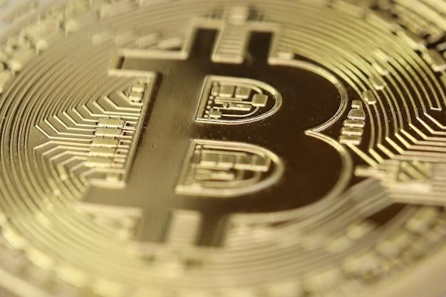 Closeup on golden bitcoin