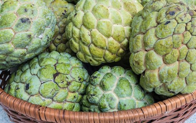 Closeup green custard apple textured background