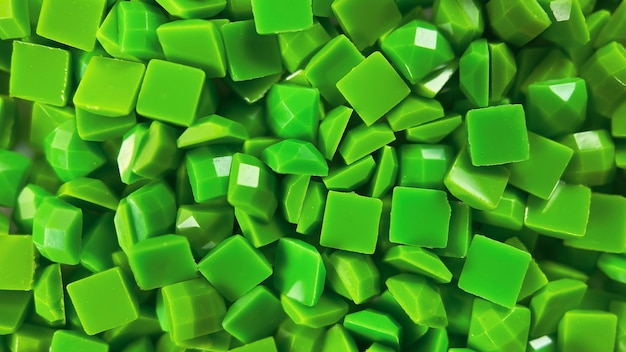 Closeup green square diamonds for diamond embroidery hobbies and diy materials for creating diamond