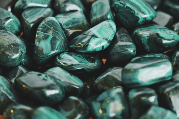 Closeup of green stones