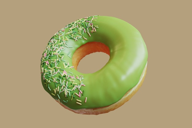 Closeup green tea doughnut topping with icing sprinkles sweet isolated floating on yellow background. minimal food idea concept 3d rendering.