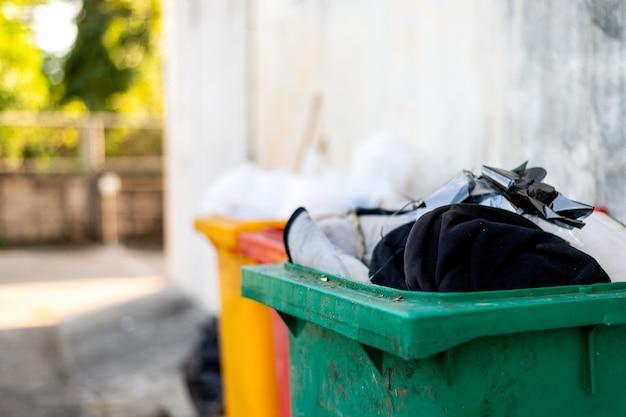 Closeup green trash bin