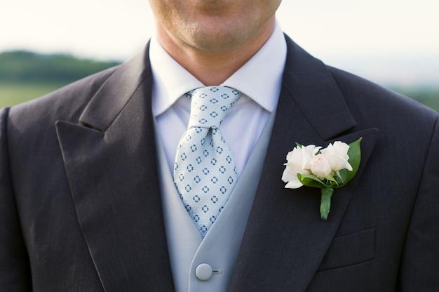 Closeup of a groom