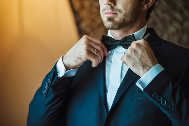 Closeup grooms wedding suit
