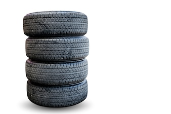 Closeup group of tires on white background.