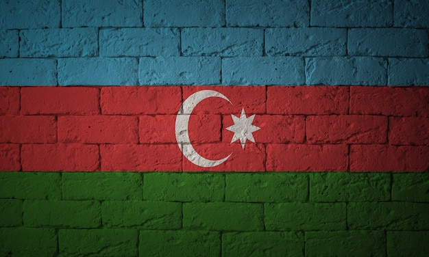 Closeup of grunge flag of azerbaijan. flag with original proportions