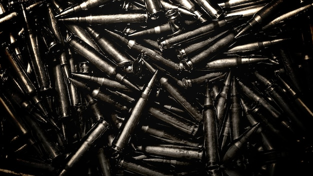 クローズアップ銃の常連客、軍事映画の背景。映画や映画のためのエレガントで豪華な3dイラストスタイル
