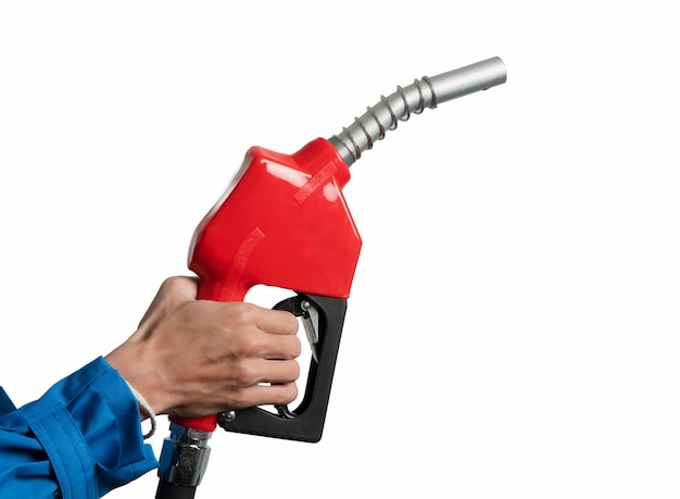 Closeup hand holding oil diesel nozzle for fuel dispenser gasohol 91.