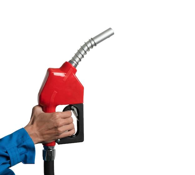 Closeup hand holding oil diesel nozzle for fuel dispenser gasohol 91.