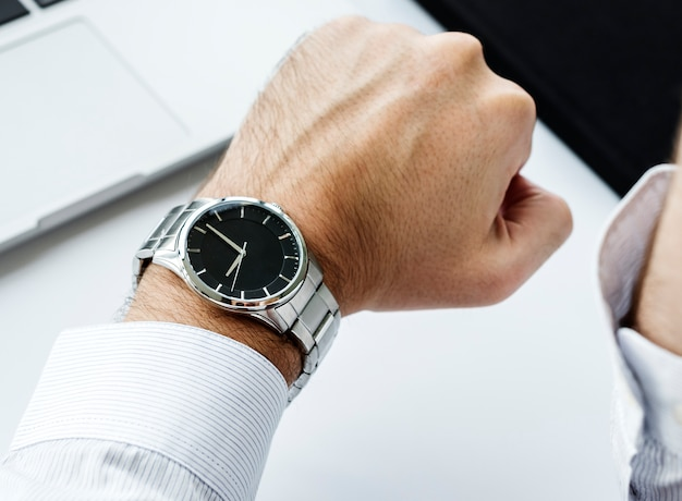 Closeup of hand watch time