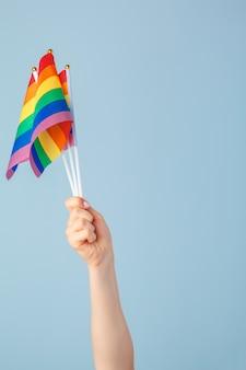 Closeup of a hand waving a small rainbow flag against a light  blue  background