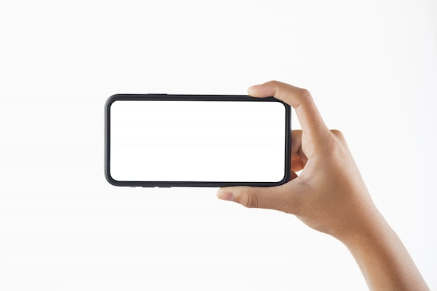 Closeup hand woman holding black smartphone blank screen isolated