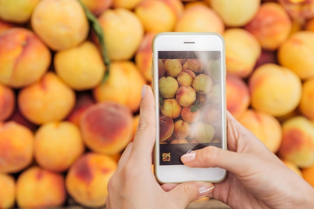 Closeup of hands holding mobile phone and taking pictures of fresh peaches