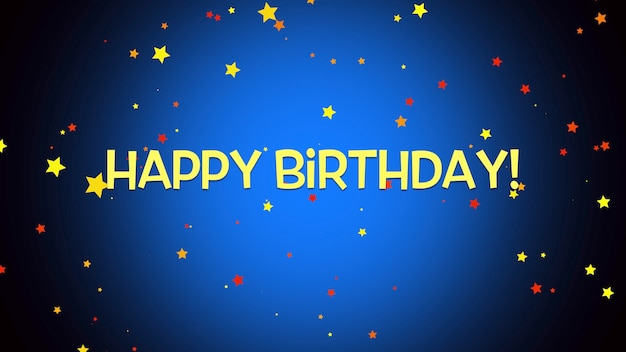Closeup happy birthday text on blue background. luxury and elegant style 3d illustration for holiday