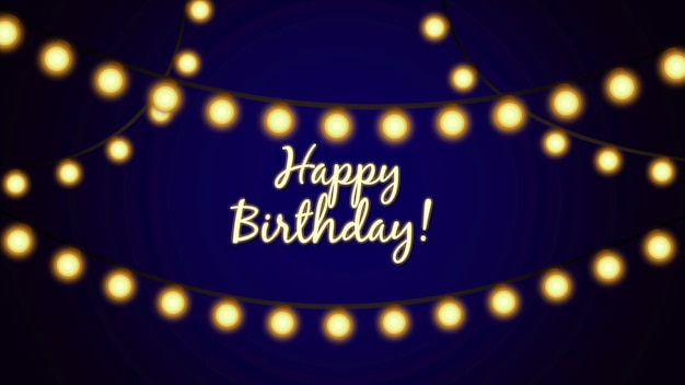 Closeup happy birthday text on blue holiday background. luxury and elegant dynamic style template for holiday card, 3d illustration