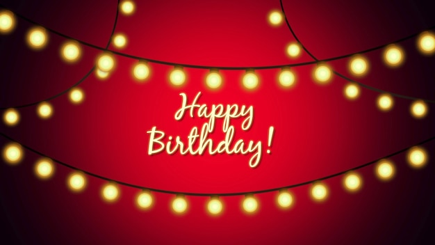 Closeup happy birthday text on holiday background. luxury and elegant dynamic style template for holiday card, 3d illustration