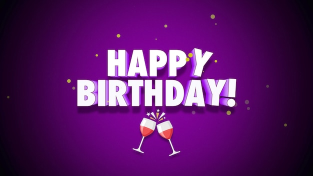 Closeup happy birthday text on purple background. luxury and elegant style 3d illustration for holiday