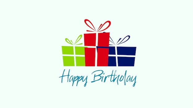 Closeup happy birthday text on white background. luxury and elegant style 3d illustration for holiday
