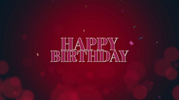 Closeup happy birthday text with confetti on red holiday background