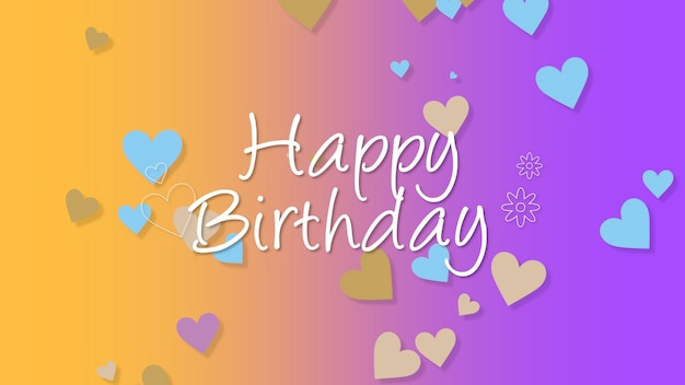 Closeup happy birthday text with hearts on colorful holiday background. luxury and elegant dynamic style template for holiday card, 3d illustration