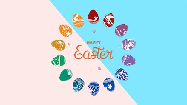 근접 촬영 행복 한 부활절 텍스트와 장미와 파란색 배경에 계란. 휴가를 위한 고급스럽고 우아한 동적 스타일 템플릿