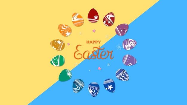 Текст и яйца пасхи крупного плана счастливые на желтом и синем фоне. роскошный и элегантный шаблон динамичного стиля для праздника