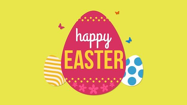 Текст и яйца пасхи крупного плана счастливые на желтой предпосылке. роскошный и элегантный шаблон динамичного стиля для праздника