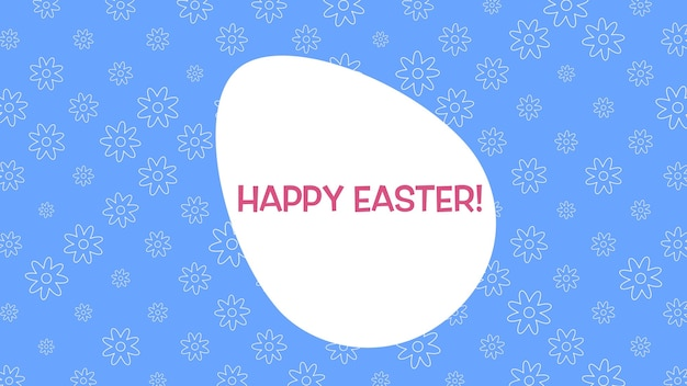 Closeup happy easter text and egg on blue background. luxury and elegant dynamic style template for holiday