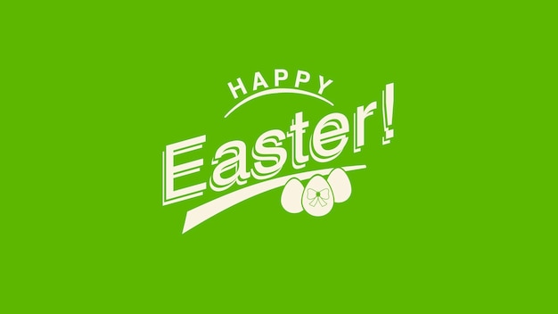 Closeup happy easter text and egg on green background. luxury and elegant dynamic style template for holiday