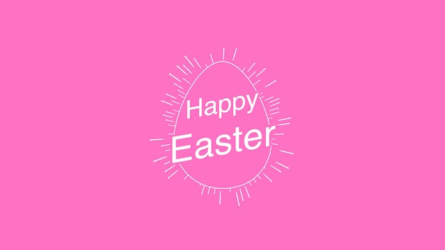 Closeup happy easter text and egg on pink background. luxury and elegant dynamic style template for holiday