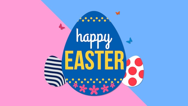 Closeup happy easter text and egg on pink and blue background. luxury and elegant dynamic style template for holiday