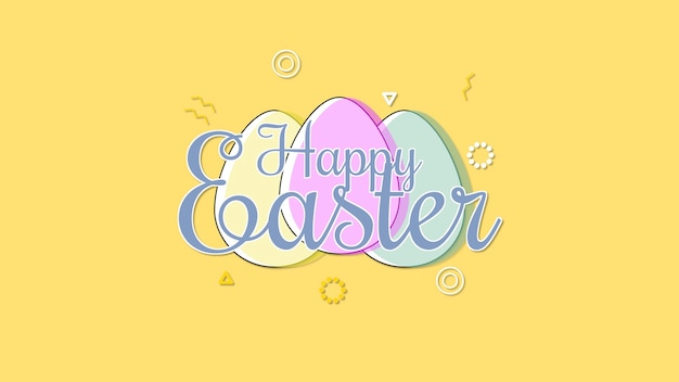 Closeup happy easter text and egg on yellow background. luxury and elegant dynamic style template for holiday
