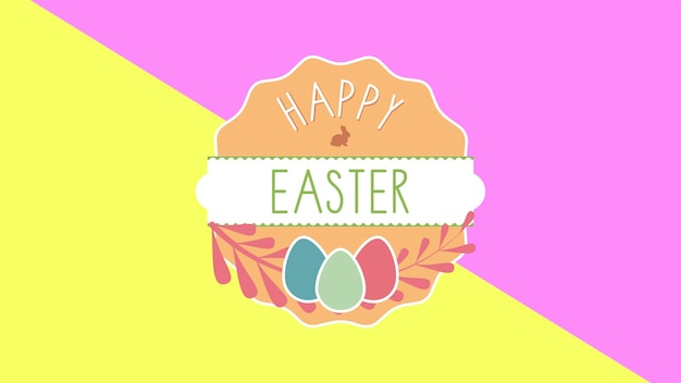 Closeup happy easter text and egg on yellow and pink background. luxury and elegant dynamic style template for holiday