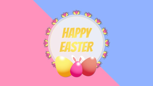 Closeup happy easter text and eggs on pink and blue background. luxury and elegant dynamic style template for holiday