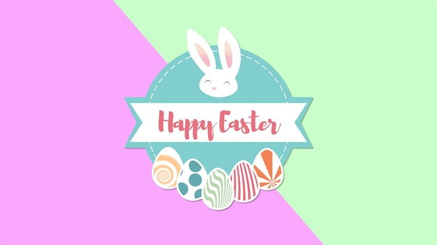 Closeup happy easter text and eggs on pink and green background. luxury and elegant dynamic style template for holiday