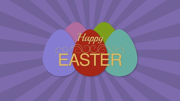 Closeup happy easter text and eggs on purple background. luxury and elegant dynamic style template for holiday