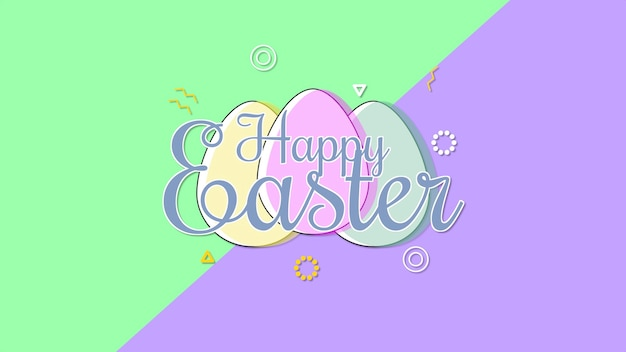 Closeup happy easter text and eggs on purple and green background. luxury and elegant dynamic style template for holiday
