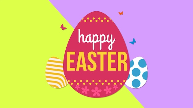Closeup happy easter text and eggs on yellow and purple background. luxury and elegant dynamic style template for holiday