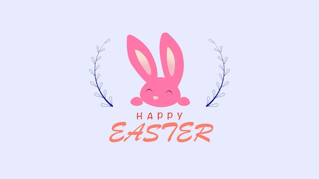 Closeup happy easter text and rabbit on blue background. luxury and elegant dynamic style template for holiday