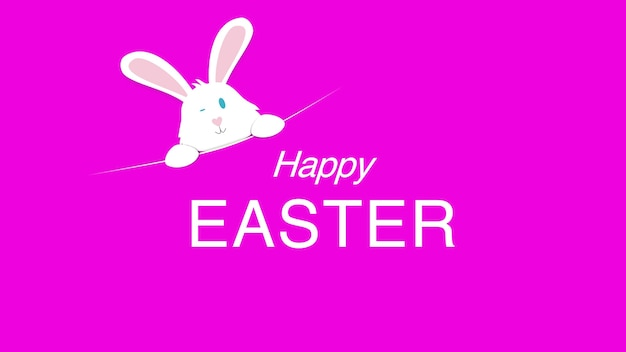 Closeup happy easter text and rabbit on pink background. luxury and elegant dynamic style template for holiday