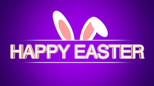 Closeup happy easter text and rabbit on purple background. luxury and elegant dynamic style template for holiday