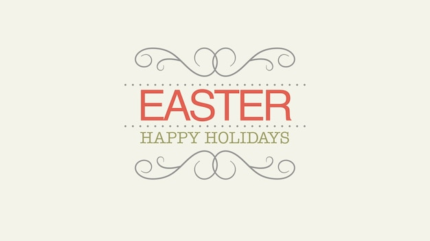 Closeup happy easter text on white background. luxury and elegant dynamic style template for holiday