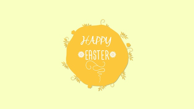 Closeup happy easter text on yellow background. luxury and elegant dynamic style template for holiday