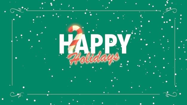 クローズアップハッピーホリデーテキストと休日の背景にキャンディーと白い雪片。冬の休日のための豪華でエレガントな3dイラストスタイルテンプレート