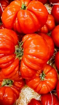 Closeup of the heirloom tomatoes