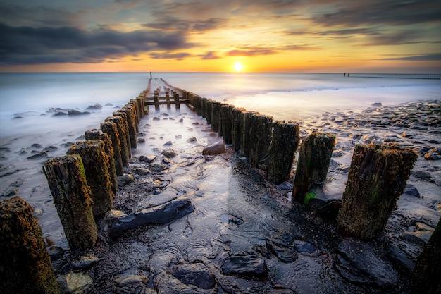Primo piano alto angolo di tiro di boschi con muschio in cima a una riva che conduce al mare al tramonto