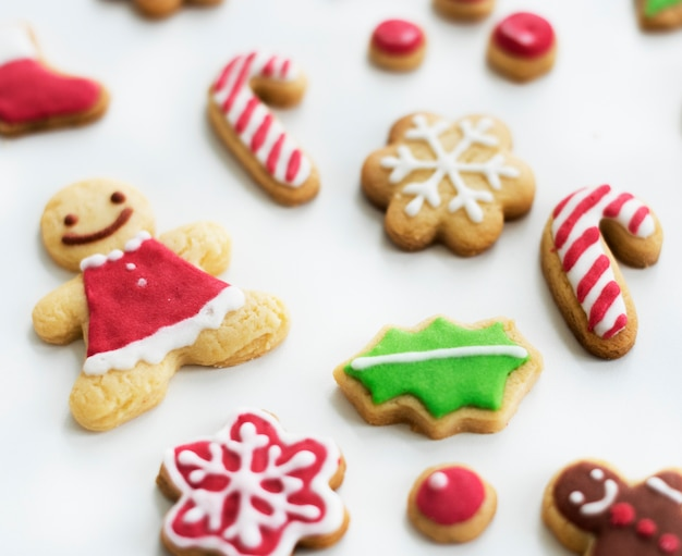 Closeup of homemade gingerbread cookies on white background